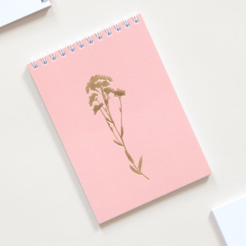 Alyssum Print Pocket Notebook in Brass and Rose
