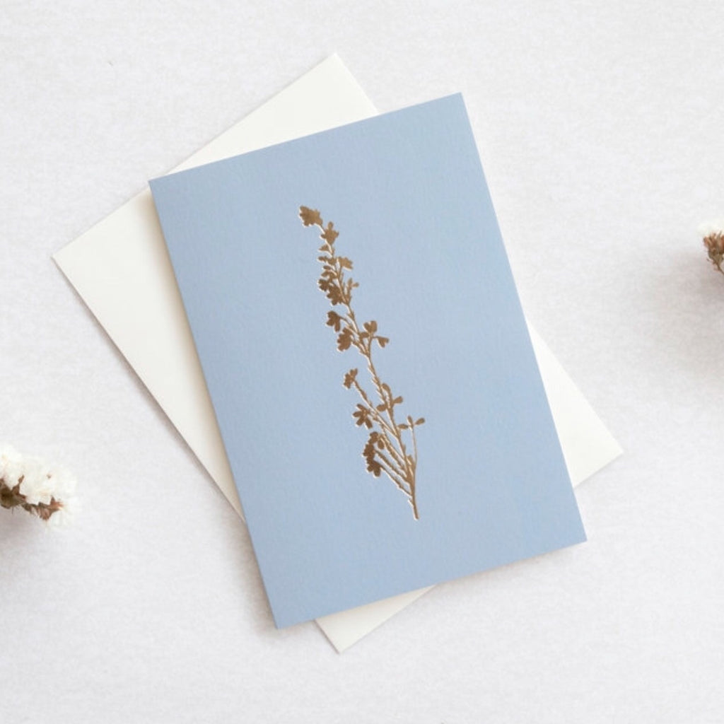 Botanical greeting card - pale blue with gold foil Heather flower
