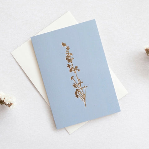 Heather Foil Blocked Card in Brass and Cornflower Blue