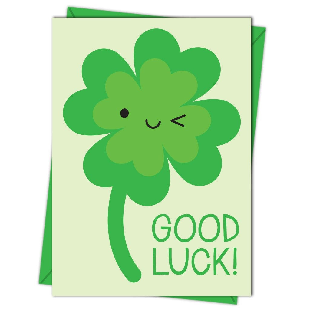 good luck lucky clover greeting card