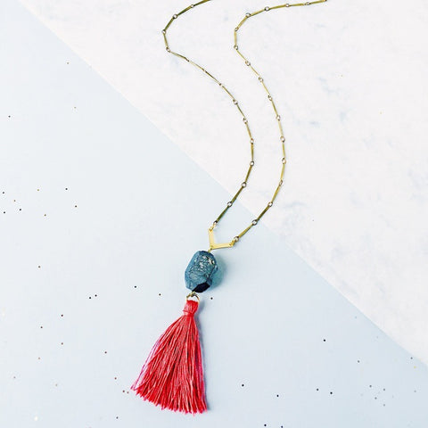 Pele Crystal and Tassel Necklace