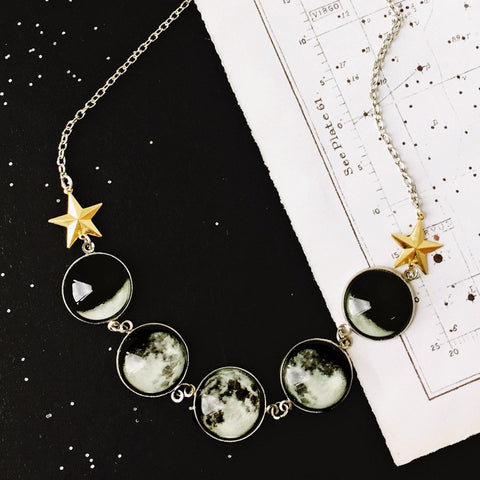 Going Through A Phase Glow in the Dark Moon Necklace