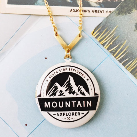 Explorer Mountain Locket Necklace