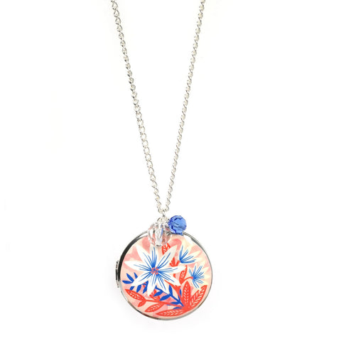 Indian Summer Locket in Pink and Silver with Blue and Crystal Beads