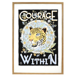 Courage Is Within Tiger Screen Print in Wooden frame