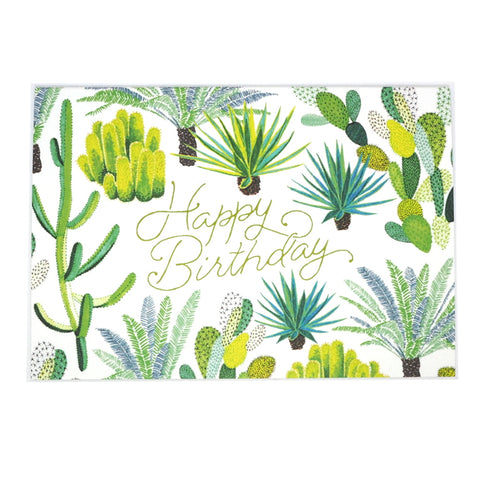 Happy Birthday Cacti Illustrated Greetings Card