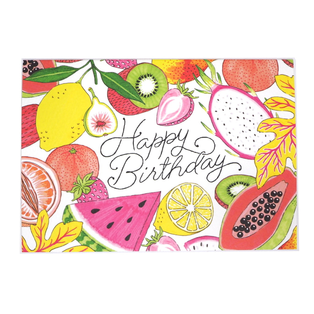 Fruity Illustration Happy Birthday Greetings Card