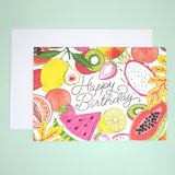 Fruity Illustration Happy Birthday Greetings Card with Envelope