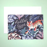 Hello Tiger Illustrated Greetings Card with Envelope