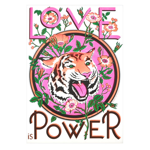Love Is Power Floral Tiger Risograph Print