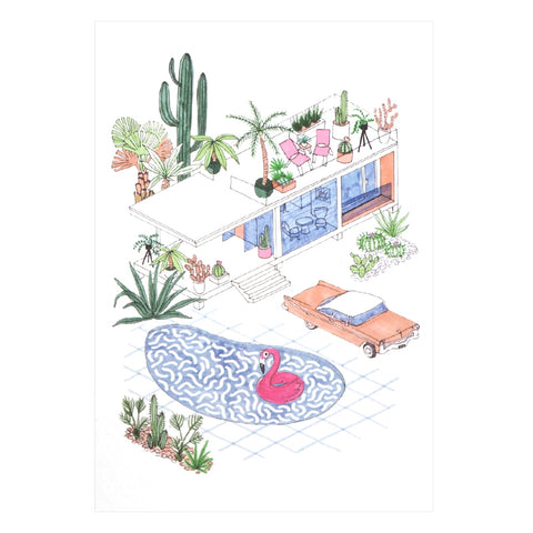 Pool House Palm Springs Illustrated Greetings Card