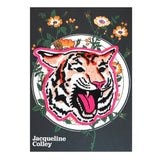 Tiger Face Embroidered Patch On Illustrated Backing Card