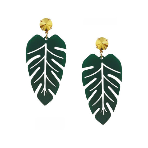 Banana Leaf Acrylic Statement Earrings