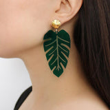 Banana Leaf Acrylic Statement Earrings on MOdel