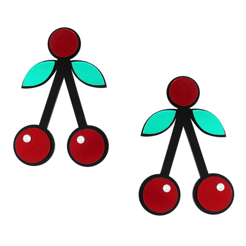 cherry crush bold quirky red acrylic statement earrings