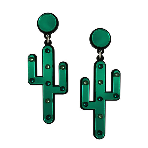 green mirror acrylic cactus statement earrings