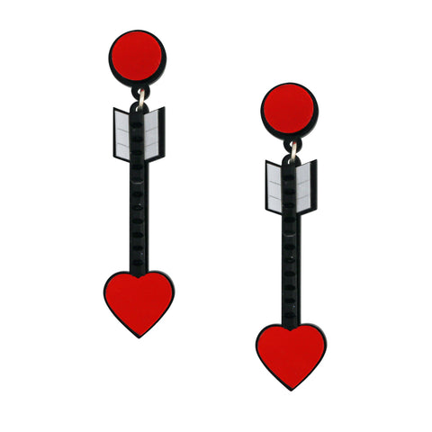 from the heart arrow quirky acrylic statement earrings