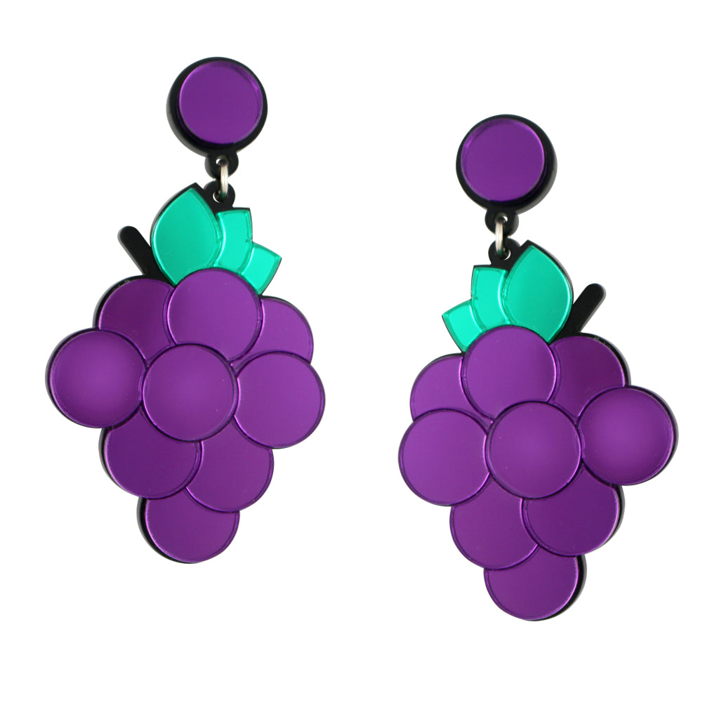 Heard it Through The Grapevine Quirky Bold Acrylic Grape Statement Earrings