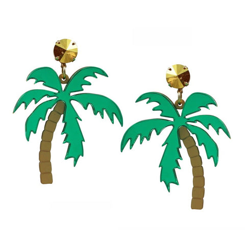 Acrylic Palm Tree Statement Earrings