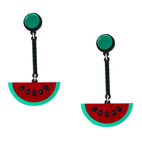 Watermelon Wow Acrylic Quirky Statement Earrings