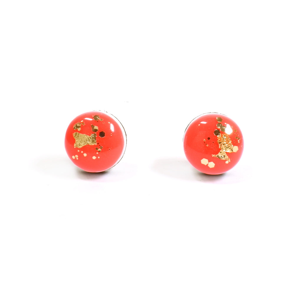 Dot Scatter Stud Earrings in Neon Red