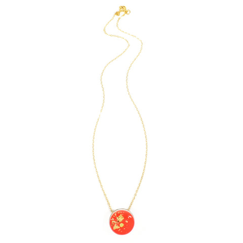 Jess Collinge - Dot Scatter Necklace in Neon Red Full Length