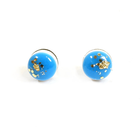 Dot Scatter Stud Earrings in Neon Blue