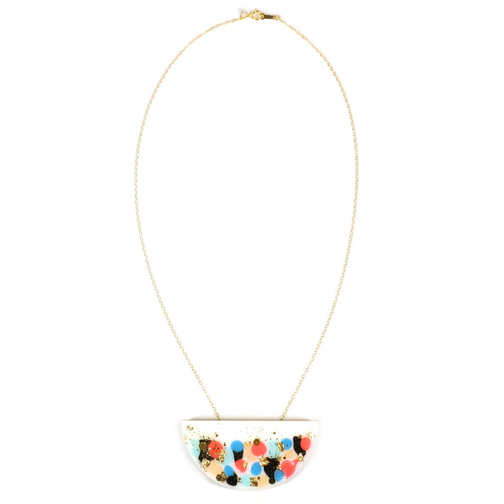 Jess Collinge GLINT Mini Curve White and Neon Necklace