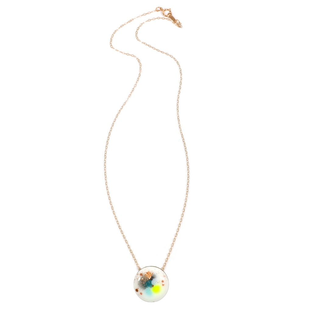 SPARK Dot Blue Neon Yellow Green Necklace Full Length