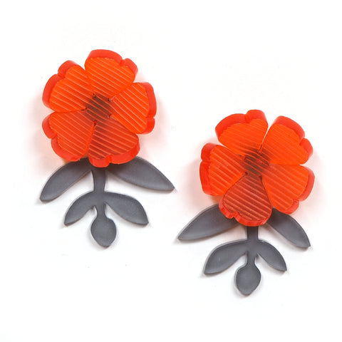 Floral Bloom Earrings in Orange and Grey