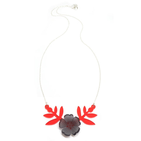 red and grey bloom necklace full length image