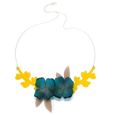 Acrylic Botany Necklace with Teal Flowers and Yellow Leaf