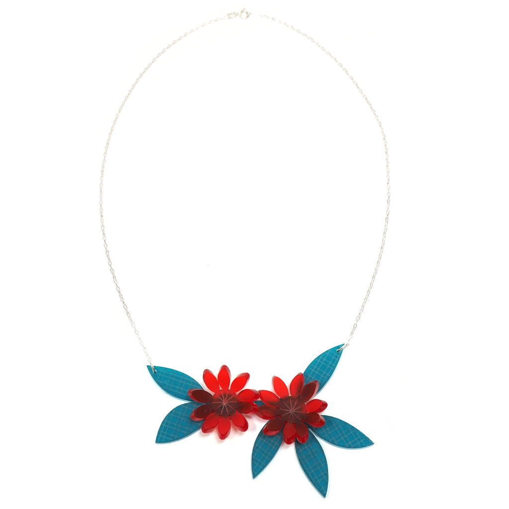 Acrylic Flora Necklace in Red and Teal Full Length Image