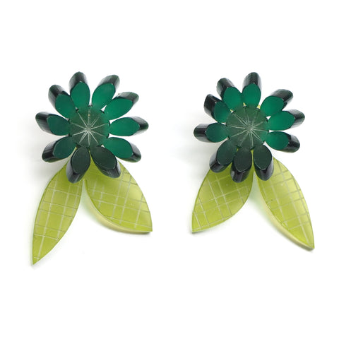 two tone green acrylic floral earrings