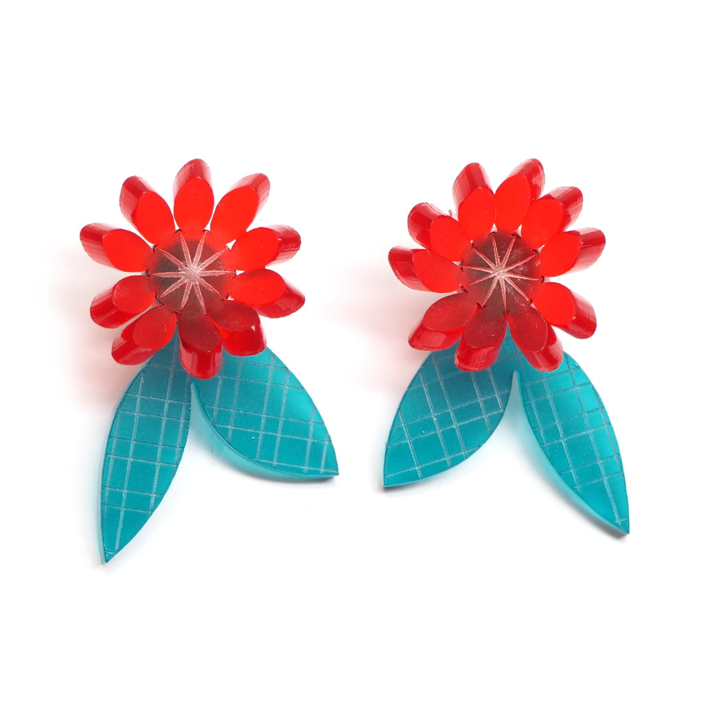 red and teal acrylic flora earrings