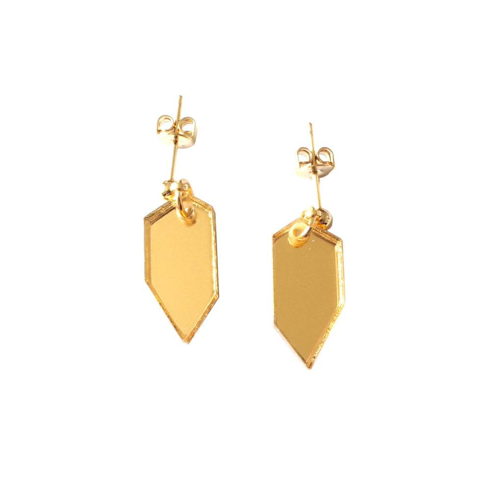 Little Kin Acrylic Stud Earrings in Mirrored Gold Acrylic
