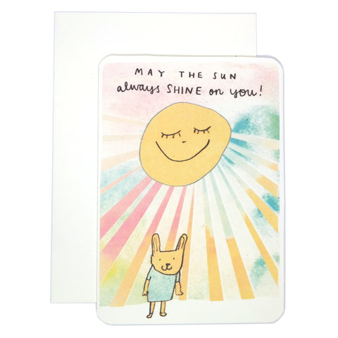 May the sun always shine on you cute bunny rabbit under a smiling yellow sun illustrated greeting card