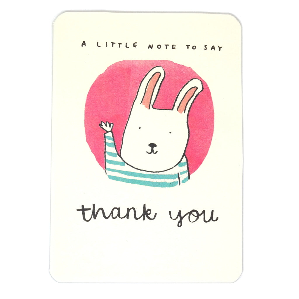 A Little Note To Say Thank You - cute white rabbit waving in pink circle