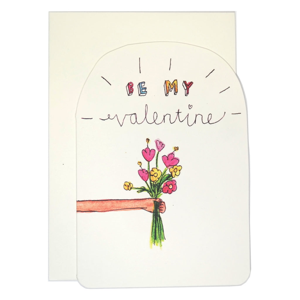 Be my valentine illustrated flower bouquet greeting card with envelope