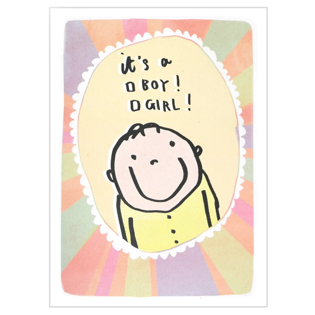New baby checkbox card - it's a boy / girl! Cute cartoon baby on colourful background.