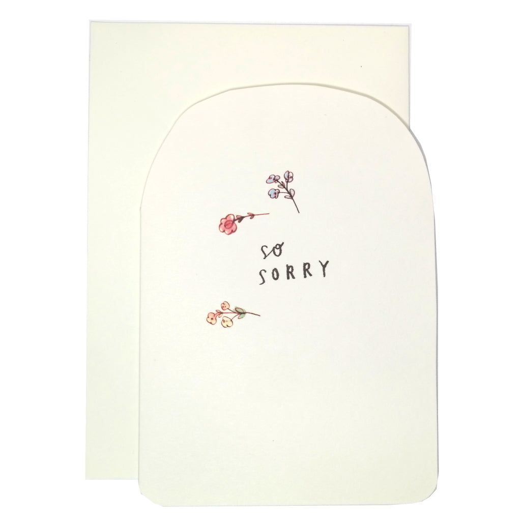 "Simple apology card with cream background and phrase ""so sorry"" with three flowers. With envelope."