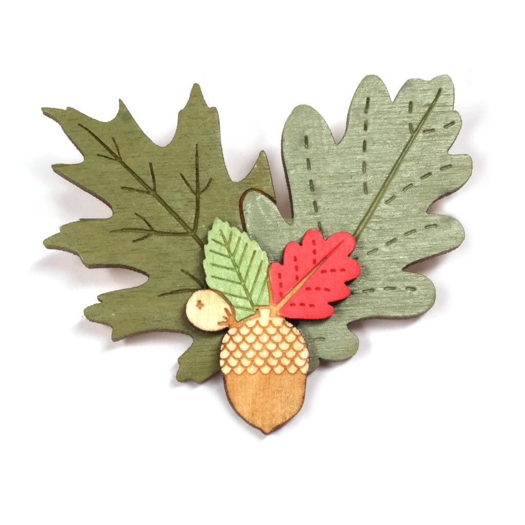 Wooden Hand Painted Acorn and Autumn Leaves Brooch
