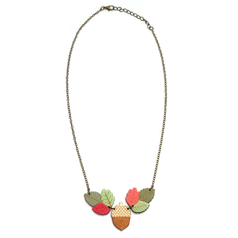 Cute Acorn and Autumn Leaves Wooden Hand Painted Necklace Full Length