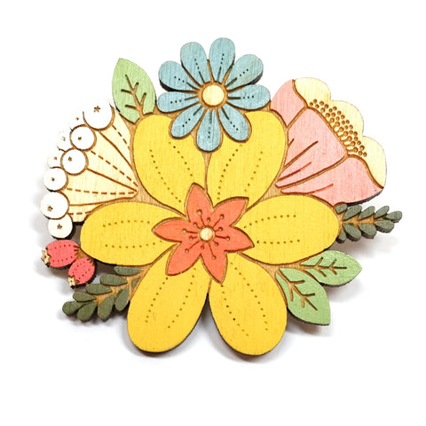Wooden Painted Yellow Daffodil Bouquet Floral Brooch