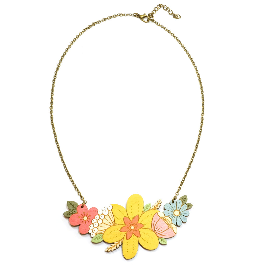 Wooden Painted Floral Yellow Daffodil Spring Necklace