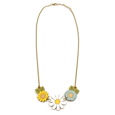 Daisy and wildflower white, yellow and blue hand painted wooden flower necklace by Layla Amber