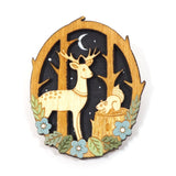 Moonlit Forest Brooch with Deer and Squirrel