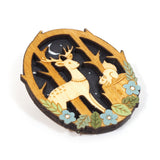 Close Up Image of Moonlit Forest Brooch with Deer and Squirrel