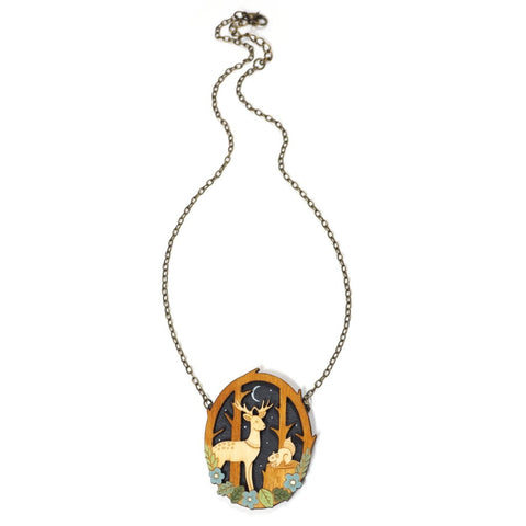 Wooden Pendant with Deer and Squirrel Forest Scene