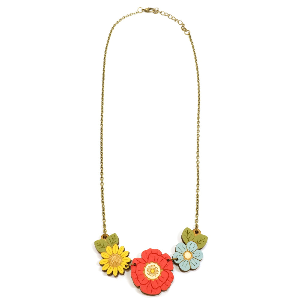 Red, blue and yellow poppy and wildflower hand painted wooden necklace on antique effect gold chain